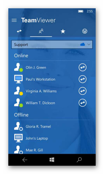 Вид TeamViewer для Windows Phone